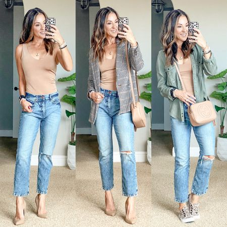 BOGO 1/2 off on Express Bodysuits!! These are sooo good! I'm wearing an xs and theirs plenty of torso room. My nude heels 👠 are on major sale with free shipping! 🙌🏻 they are gorgeous!  I linked several blazer & denim options from affordable to spendy since mine is sold out.   #LTKstyletip #LTKunder50 #LTKsalealert