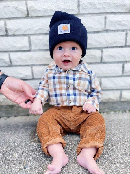 Baby boy fall outfit     carhartt Plaid Flannel Baby clothes