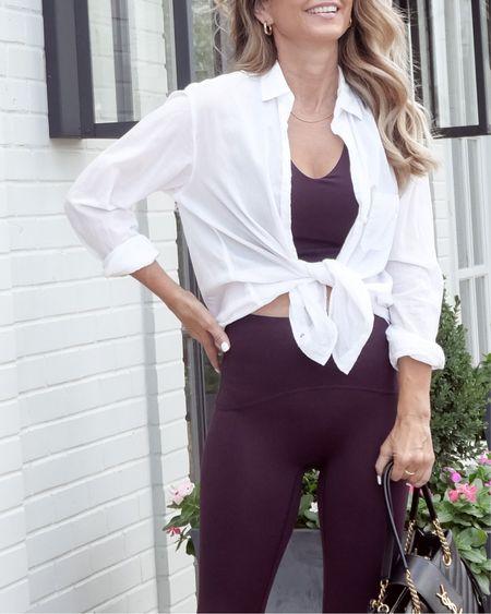 Spanx bootie boost 7/8 leggings in plum, Sz S!  Love the long line sports bra, Sz S!  Favorite old school sneakers.  Her Fashioned Life  #LTKSeasonal #LTKfit #LTKstyletip
