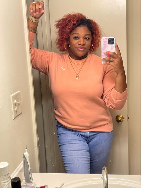 Outfit Of The Day 🤍.   Wearing a size large in sweatshirt from Champs & 12 in jeans.   #LTKcurves #LTKstyletip