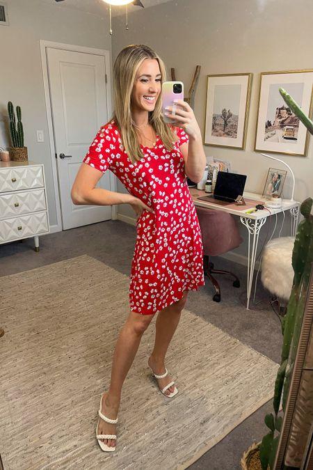 Love this floral red dress!! Amazon find. Sandals also run true to size @liketoknow.it #liketkit http://liketk.it/3hUVw #LTKunder100 #LTKunder50 #LTKshoecrush