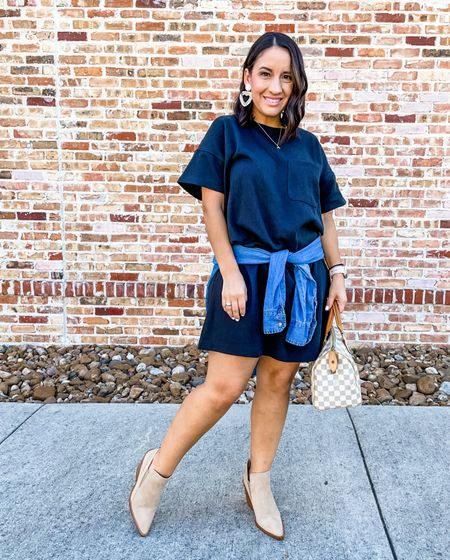 Madewell t-shirt dress, booties, and chambray wrapped around my waist. Madewell has 20% off today!!   #LTKunder50 #LTKSale #LTKsalealert
