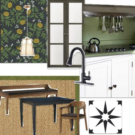 A kitchen update for a young couple includes touches of black & green in the black floral wallpaper, black faucet, black and white floor pops and green rug http://liketk.it/3c6F5 #liketkit @liketoknow.it
