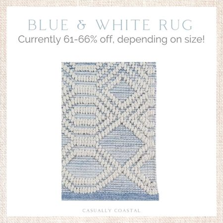 This rug has always been one of my favorites - very similar to my Serena & Lily Ryder rug that I have in my living room (linked as well). This Wayfair rug is at a much more affordable price point - currently 61-66% off depending on size, with free shipping! - coastal decor, beach house decor, beach decor, beach style, coastal home, coastal home decor, coastal decorating, coastal interiors, coastal house decor, home accessories decor, coastal accessories, beach style, blue and white home, blue and white decor, neutral home decor, neutral home, natural home decor, bedroom rugs, coastal rugs, rectangle rugs, rectangular rugs, blue and white rugs, rugs with blue, 5x7 rugs, 6x9 rugs, 9x12 rugs, 11x14 rugs, 12x18 rugs, 4x6 rugs, living room, living room rugs, bedroom rugs, entryway rugs, hallway rugs, large rugs, small rugs, textured rugs, neutral rugs, coastal runners, beach house rugs, Coastal rugs, kitchen runners, neutral runners, rugs on sale, blue and white runners, serena and lily dupe   #LTKsalealert #LTKhome #LTKunder100