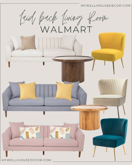 """#Ad Walmart   Laid back living Room  Here is an update on """"tropical"""" with  mid century motifs and Boho accents for your Living Room  Couch, accent chair, coffee table, decorative pillow  #LTKhome #LTKSeasonal #LTKsalealert"""