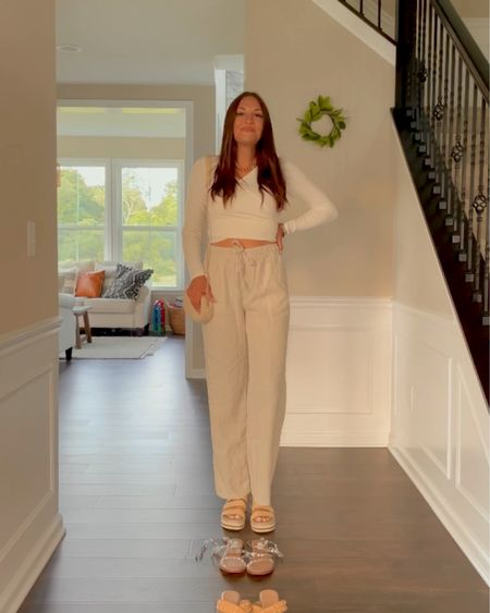 Summer outfit  Cross long sleeve top Linen pants Platform sandals   http://liketk.it/3hzRb #liketkit @liketoknow.it #LTKunder50 #LTKunder100 #LTKsalealert
