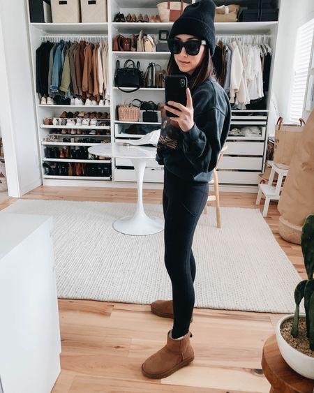 Staple shoes to have in your closet - Ugg short boots. Runs TTS   Sweatshirt - Anine Bing xs Leggings - Zella xs Boots - Ugg 5 Beanie - J.crew   http://liketk.it/36z2F @liketoknow.it #liketkit #LTKshoecrush
