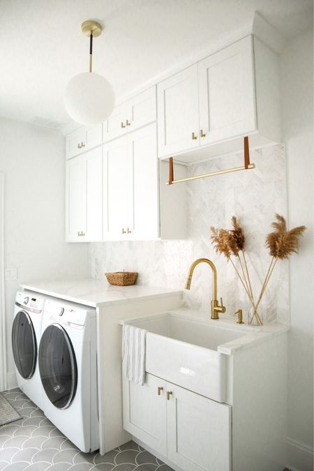 Laundry room white and gold Samsung  #LTKhome