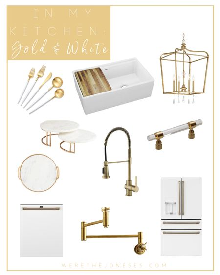 Gold and white kitchen Brass hardware Gold hardware White farmhouse sink White and gold refrigerator  Gold kitchen faucet  Brass pot filler Gold flatware Brass pulls  Gold chandelier  Kitchen lighting  Kitchen design  White kitchen  Farmhouse sink Home decor Home furnishings  Kitchen Amazon home Walmart home White marble Pendants Light fixture Kitchen island Kitchen sink  #LTKunder50 #LTKunder100 #LTKhome