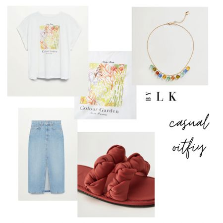 Casual tee & denim skirt outfit  Love the pop of color with the red braided sandals & the fun crystal necklace    @liketoknow.it #liketkit #LTKstyletip #LTKunder50 #LTKshoecrush http://liketk.it/3eWCF