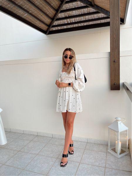 Missguided heart print shirred long sleeve dress with toe strap minimal black heels for a classic summer evening look on holiday ootd   #LTKtravel #LTKSeasonal #LTKeurope