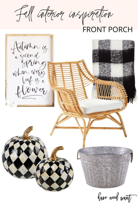 Sharing a fall front porch decor  idea with a black and white theme perfect for all season long. These Mackenzie Childs pumpkins are so festive and chic! Love them paired with this Serena and Lily outdoor accent chair and Buffalo check blanket.  #LTKSeasonal #LTKhome #LTKunder100