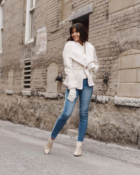 This jacket is on major sale today 50% off! Shop my entire look here  http://liketk.it/361ps #liketkit @liketoknow.it  Sizing 5' 5 115 lbs  Jacket size xs  Jeans 25  Shoes 8.5
