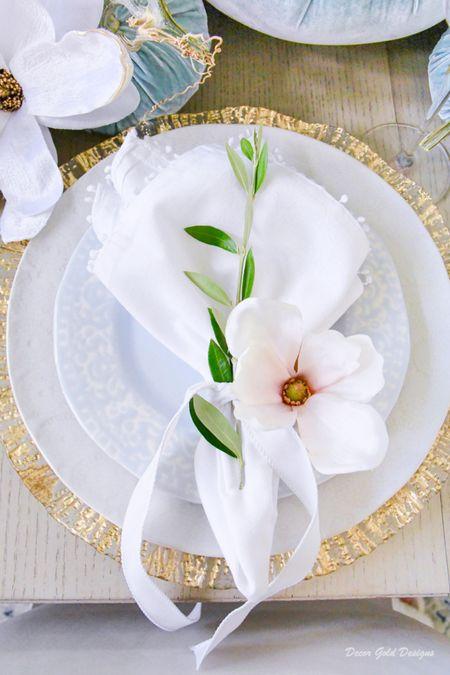 Beautiful fall place setting  Dinnerware, dinner plate, linen napkin, faux magnolia    #LTKSeasonal #LTKhome #LTKunder50