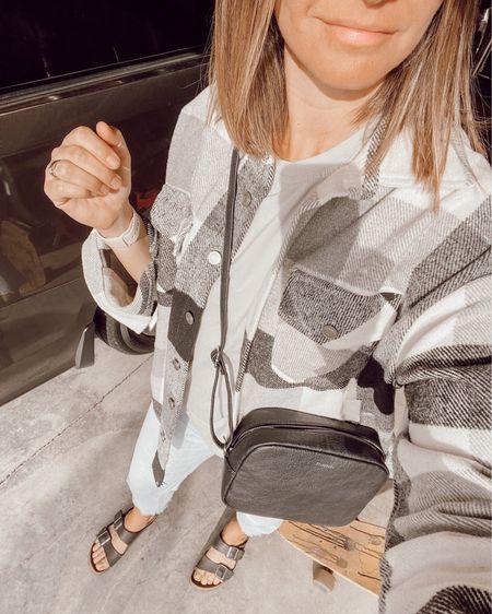 #MomStyle on the daily. Shirt jacket and Birkenstock's go with jeans, leggings or even shorts! #LTKstyletip #LTKunder100 #LTKshoecrush http://liketk.it/3coJd #liketkit @liketoknow.it