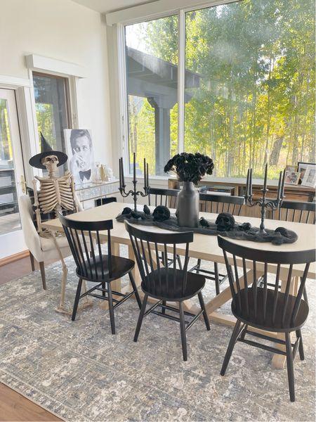 H A L L O W E E N \ All black festive tablescape with a side of Mr. Bones💀🖤   #halloween #halloweendecor #fall #falldecor #homedecor #diningroom #diningtable  #LTKSeasonal #LTKhome #LTKHoliday