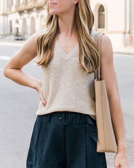 My top 10 summer essentials are coming to natalieyerger.com tomorrow, but here's a sneak peek of one of my must-haves: a knit tank. This sleeveless sweater is super lightweight and also comes in black. Size down two sizes (I'm in XXS). Similar tank tops linked as well! The shorts run large—size down one size.  Summer tank top, knit tank, treasure and bond, Nordstrom Anniversary Sale, cellajaneblog, neutral tank top, Nordstrom tank top, sleeveless sweater, summer essentials, summer wardrobe essentials, tank top with shorts, summer outfits, summer outfit ideas http://liketk.it/3gFmK #liketkit @liketoknow.it