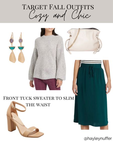 Cozy but chic, I want to wear this right now!   Perfect for casual, office wear, or holiday parties, this target midi skirt is a must have.  #LTKSeasonal #LTKstyletip #LTKunder50