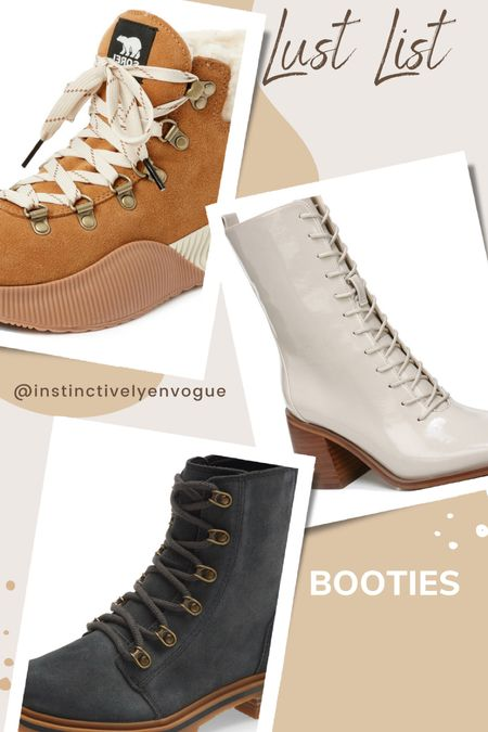 Boots and booties I'm listing over- lace up booties, block heel, waterproof booties, waterproof boots, sorel, Nordstrom   #LTKshoecrush #LTKstyletip