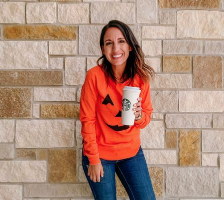 Hello! Here's the cutest Jack-o-lantern 🎃orange sweatshirt and jeans. I love getting in the Halloween 🎃 spirit and buying cute festive Halloween sweatshirts. I linked a few other that are really cute!! This would be super cute with black jeans and combat boots too! Perfect trick or treating outfit    #LTKHoliday #LTKunder50 #LTKstyletip