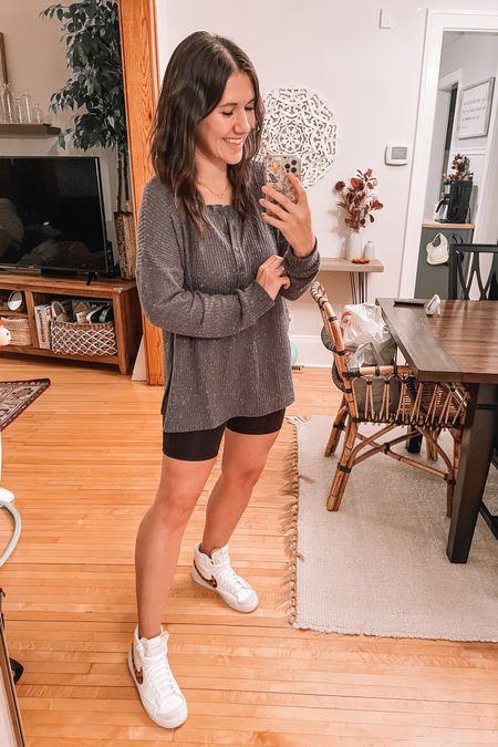 Old navy tunic top (small) Henley, nursing friendly Biker shorts (medium) target style  Nike high top sneakers (size up .5) Fall outfits, loungewear   #LTKsalealert #LTKstyletip #LTKshoecrush