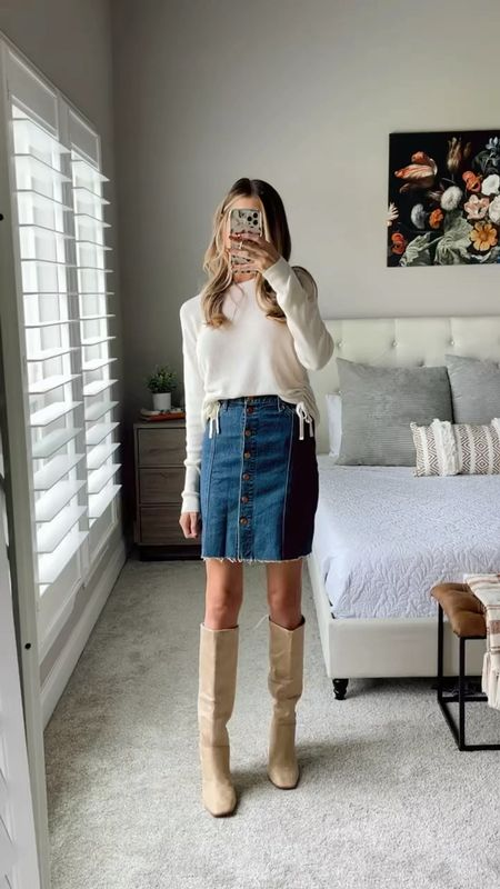Fall style  White sweater, denim skirt and knee high boots  Tan knee high boots  #LTKSale #LTKstyletip #LTKunder100