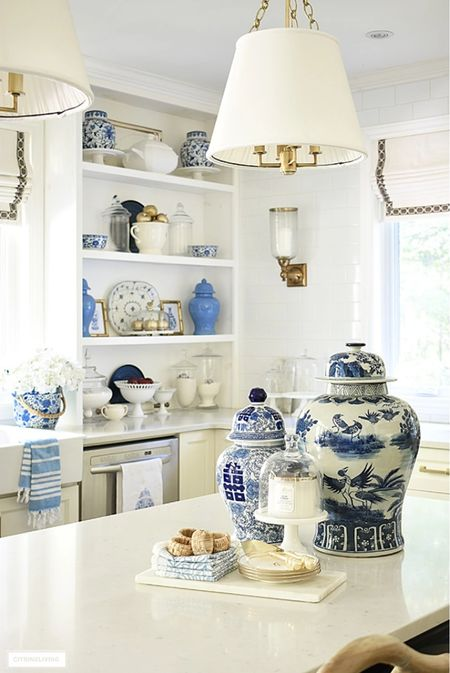 Kitchen decor classics! This gorgeous extra large ginger jar is a statement maker on our kitchen island.  #LTKstyletip #LTKhome #LTKSeasonal