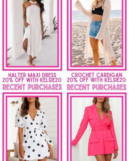 Recent purchases! Halter maxi dress, beige crochet cardigan, polkadot wrap dress, Steinway mini dress pink, sleeveless polo mini dress! Pink Lily: 20% off with KELSIE20  http://liketk.it/3hh7q @liketoknow.it #liketkit