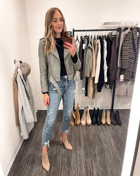 The best leather jacket every year! I picked up the green color this year and I'm obsessed! This sweater is a staple that I bought at the sale last year! Wearing a XS. Fits TTS. $55 jeans that feel way more expensive! Wearing a size 26. Fits TTS. These booties were my favorite by far! So comfortable #NSALE #nordstromanniversarysale #nordstromsale #nordstrom #fallfashion #leatherjacket #liketkit  #LTKsalealert #LTKunder50 #LTKunder100