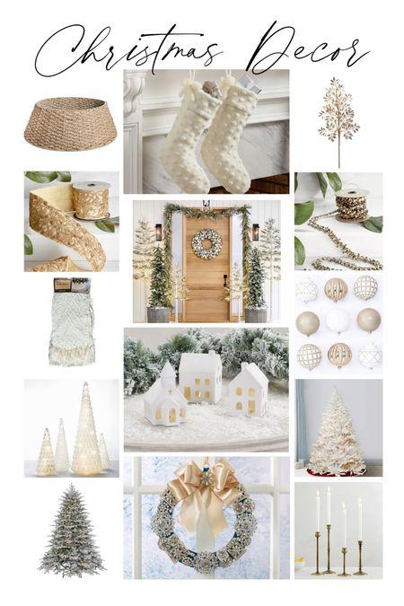 Flocked tree, garland, ornament, ribbon, wreath, decorative trees, stocking   #LTKSeasonal #LTKHoliday #LTKGiftGuide