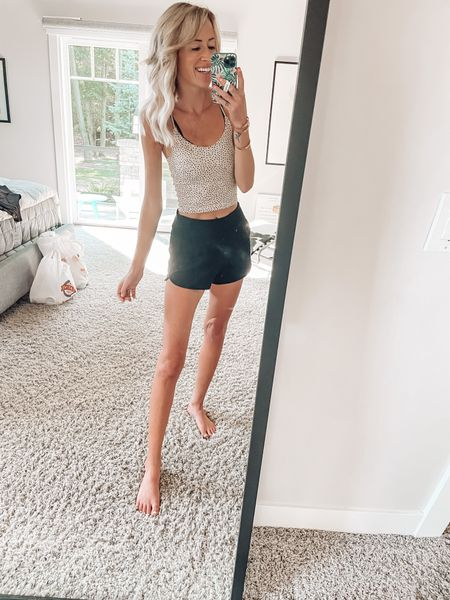 Comfy loungewear for at home yoga  Athleisure cropped leopard tank top Short shorts Comfy shorts Sleep shorts  Abercrombie contour soft af   #LTKSale #LTKstyletip