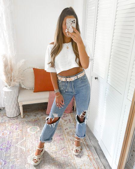 Casual Outfit — distressed denim, white crop top, belt, wicker wedges   http://liketk.it/3iiJp #liketkit @liketoknow.it @liketoknow.it.brasil @liketoknow.it.europe @liketoknow.it.family @liketoknow.it.home #LTKunder100 #LTKunder50 #LTKstyletip