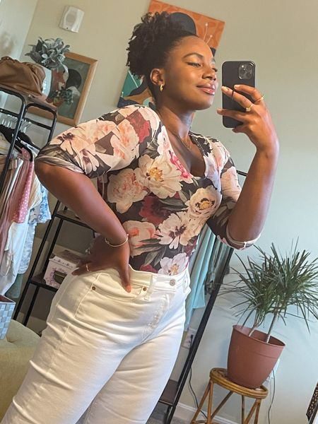 This floral bodysuit is always a crowd pleaser. It's perfect for brunch or date night. I paired it with white jeans for a summer outfit fit for causal cute date night   #LTKcurves #LTKSeasonal