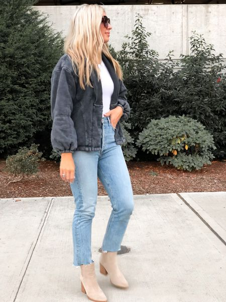 Agolde Riley jean. Fits tts and comes with a raw edge or regular. Forever 21 jacket fits tts as well. Size up one if you want it oversized a bit.   #LTKunder50 #LTKstyletip #LTKunder100