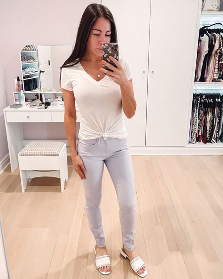 New lilac colored jeans on sale! Frame denim for under $100 🙌 still a few sizes left and these fit true to size. Paired with a white drapey tee that I tied and some cute sandals.   #LTKunder100 #LTKstyletip #LTKSeasonal