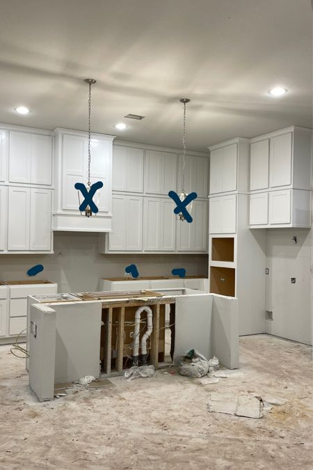 Kitchen update: Cabinets are in! Next up is the backsplash and counter top. Tagged is what I will be doing for faucets and pendant lights.  Home decor kitchen decor  #LTKhome #LTKunder100 #LTKfamily
