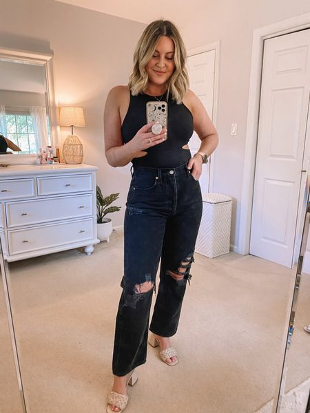All black 🖤 Cut out bodysuit (M), black jeans (28) and block heels for date night! • http://liketk.it/3hf7v @liketoknow.it #liketkit   Date night outfit, summer outfit, body suit outfit, cut out top