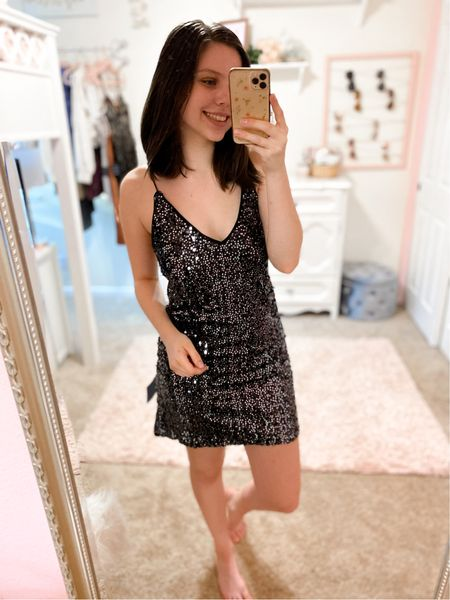 Love this sparkly dress from lulus, perfect for parties and formal events! (Fits true to size, wearing normal small) #lulus #sequindress #partydress #dresses #weddingguestdresses #occasiondresses   #LTKstyletip #LTKSeasonal #LTKunder100
