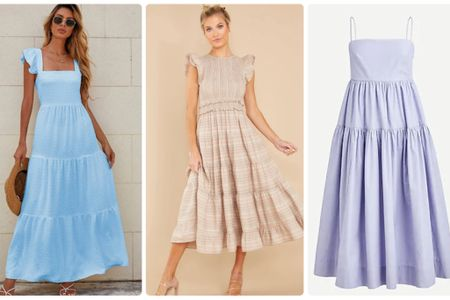 More summer dresses to keep you cool! All of these maxi and midi dresses are on sale; one at only $20, and another at $50. Save money for fall shopping while freshening up your summer wardrobe. #ltkdresses #ltksummer  #LTKsalealert #LTKstyletip #LTKunder50