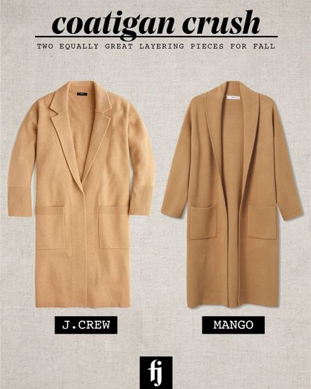 Love camel coatigans for fall. These two are almost identical! The mango on is SLIGHTLY heavier   #LTKstyletip