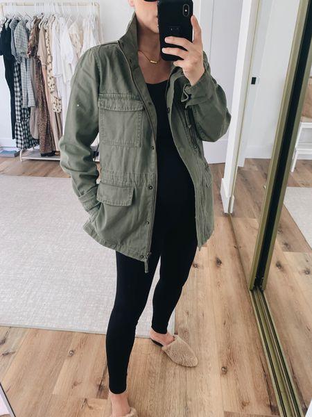 Green utility jacket. ONeil utility jacket.   Jacket - ONeil xs (runs big) Leggings - Ingrid & Isabel 1 Mules - Marc Fisher 5  #LTKbump #LTKshoecrush #LTKunder100