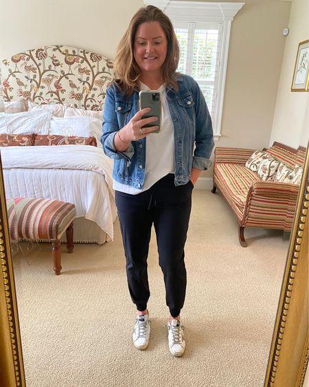 The ultimate travel outfit - Lululemon joggers, everlane t shirt, gap denim jacket, golden goose sneakers!   http://liketk.it/3kntt @liketoknow.it #liketkit #LTKstyletip #LTKtravel