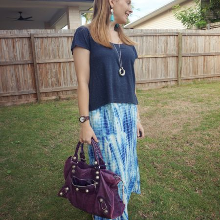 All the blue shades and a big touch of purple! 💙💜 I love this maxi skirt I scored from my sister's wardrobe clear out! The Blue tie dye print of the maxi skirt is so nice with the navy scoop neck tee. Added more blue with the turquoise tassel earrings and then the silver circle necklace to match the silver hardware on the purple Balenciaga work bag 💜   --------------- ----------------- ------------  Screenshot this pic to shop the product details from the @liketoknow.it app, or click here: http://liketk.it/3ggzh #liketkit #LTKitbag
