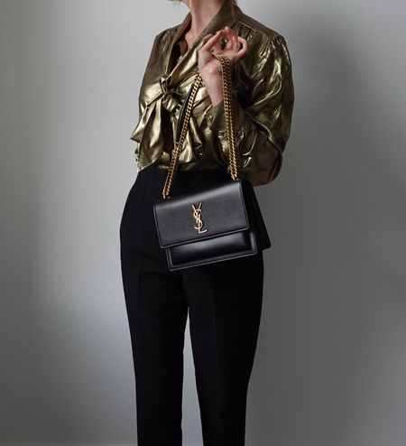 Getting ready for all those festive autumn / winter occasions in this gold silk blouse with black YSL Saint Laurent Sunset bag in medium size black leather & gold hardware 🖤  #YSLBag #YSLSunset #workoutfit #festiveFashion  #LTKworkwear #LTKSeasonal #LTKstyletip