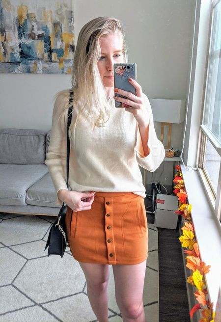 Add these Amazon pieces to your fall wardrobe! I tucked this bell sleeve sweater into this pretty suede skirt to create an easy fall look. 🍁   #LTKSeasonal #LTKunder50 #LTKstyletip