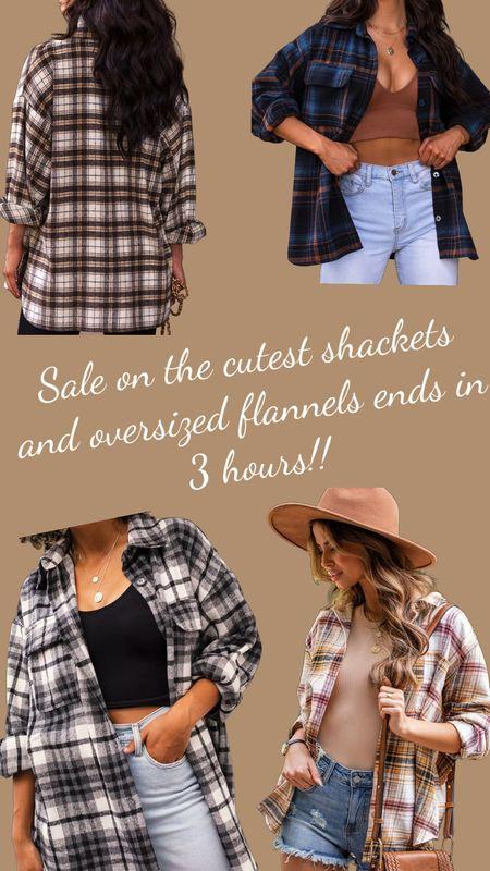 The cutest oversized shackets and flannels 😍 Sale ends in 3 hours!! Use code SAVE70   #LTKsalealert #LTKSeasonal #LTKunder100