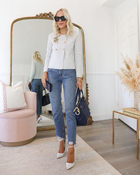 H&M knit blazer gold buttons. Chanel pin. Anine Bing jeans. Hammitt bag    #LTKsalealert #LTKunder100 #LTKworkwear