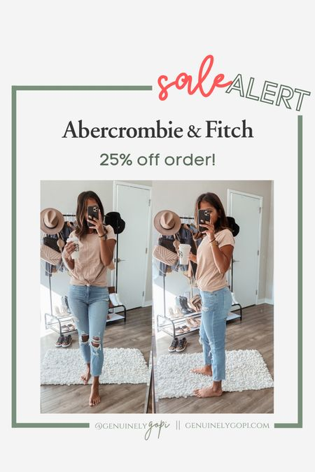 """25% off all Abercrombie orders! click """"copy code"""" and apply at checkout 🙌🏽  #abercombie #denim #sale #abercrombieandfitch #affordable  #LTKunder50 #LTKsalealert #LTKSale"""
