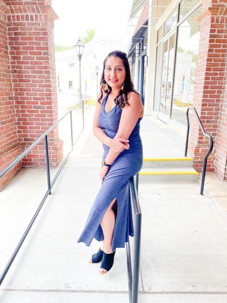 Long maxi dress with a slit.    #LTKstyletip #LTKSeasonal #LTKsalealert