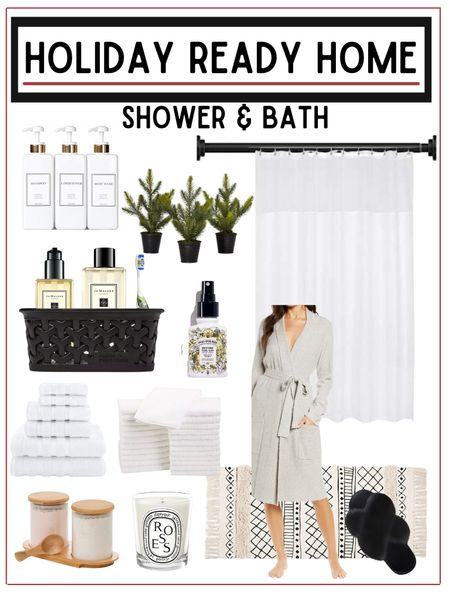 Get your guest bathroom ready for holiday guests with a quick refresh.    A few small touches can make the guest bathroom feel festive and welcoming to your house guests.           Guest bathroom , bathroom decor , home decor , Christmas decor , jo Malone , #ltkbeauty #ltkeurope , bath rugs , rug set , amazon home , amazon finds ,  nordstrom style , barefoot dreams robe , slippers , home furnishings , shower curtain , shower curtain liner #ltkstyletip #ltkunder100 #ltkshoecrush target style , target home decor , target finds  #LTKhome #LTKHoliday #LTKunder50
